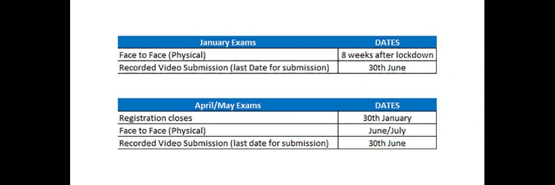 Exams update